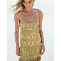שמלת הרמוני תחרה ומשי זהובה
