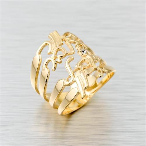 טבעת שם בעיצוב אישי גולדפילד 18 קראט איכותית ארבעה שמות יפיפיה