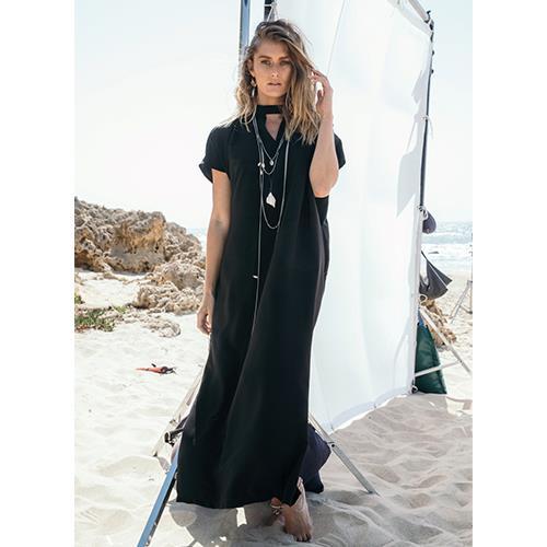 שמלת רוז שחור סאטן מט