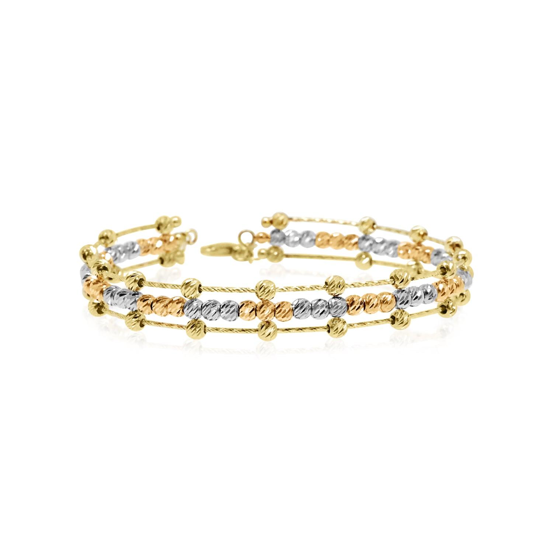 צמיד זהב כדורי בשלושה צבעי זהב ורוד, לבן וורד  צמיד קשיח