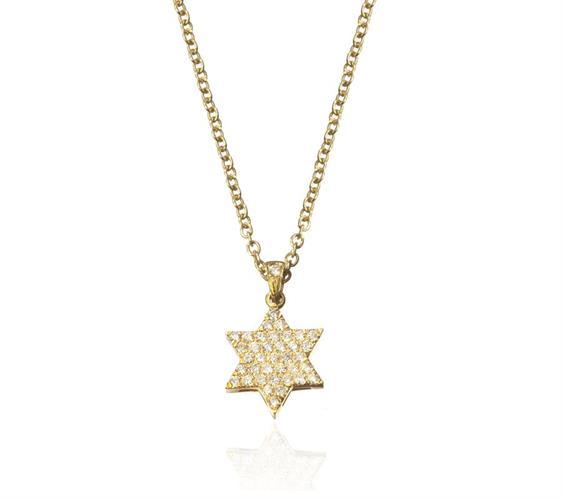 שרשרת ותליון מגן דוד פאווה יהלומים 0.30 קראט