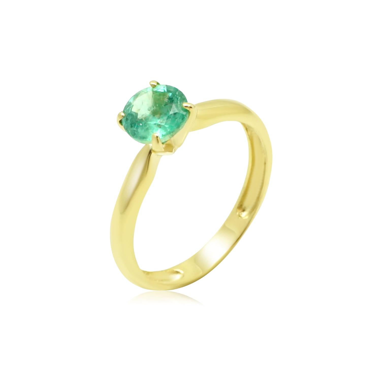 טבעת זהב משובצת אמרלד 1 קראט
