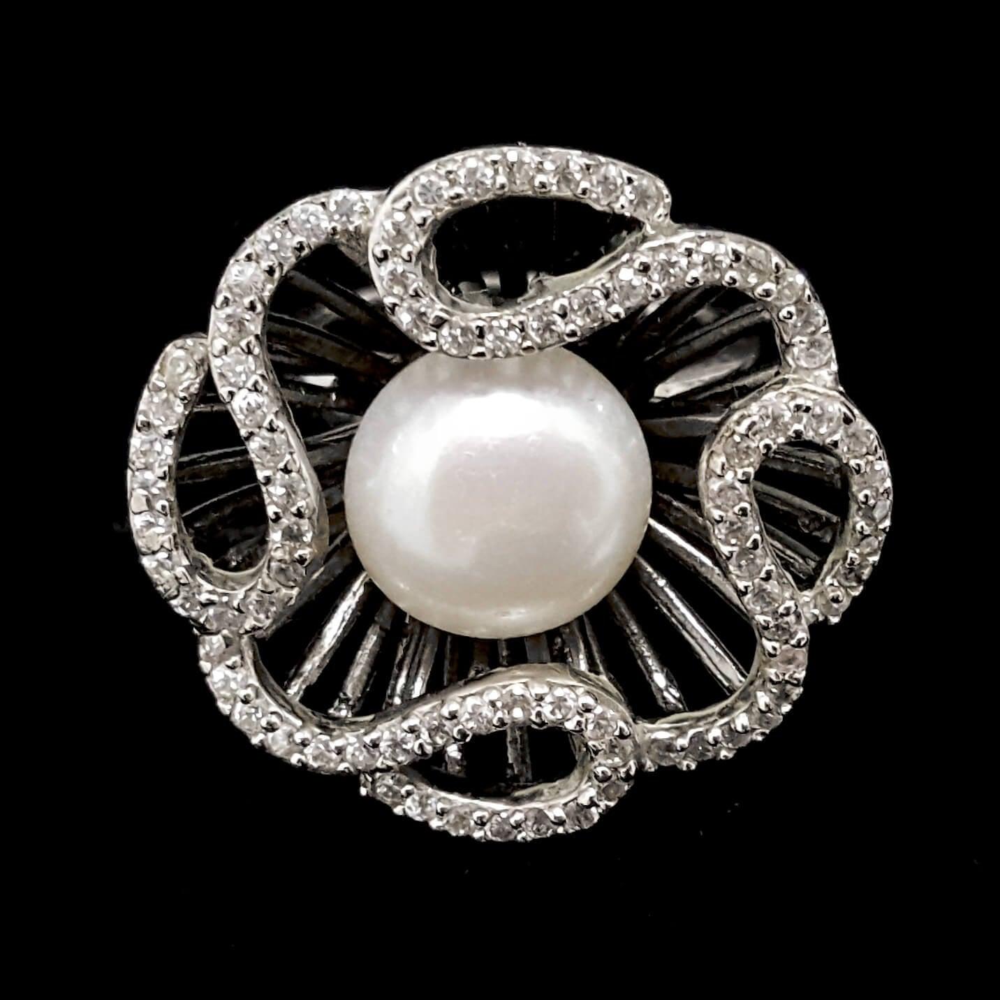טבעת כסף פרח משובצת פנינה לבנה וזרקונים RG7816 | תכשיטי כסף 925 | טבעות כסף