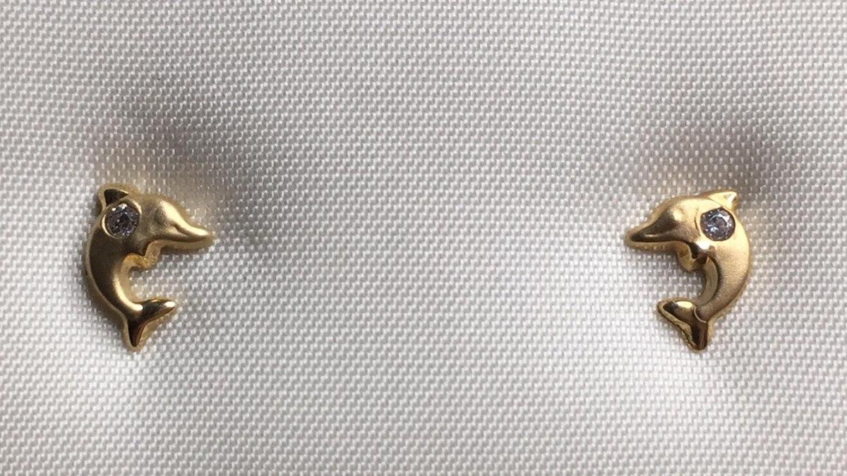 עגילי זהב דולפין