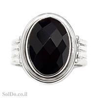 טבעת מכסף  משובצת אבן אוניקס שחורה  RG6021 | תכשיטי כסף 925