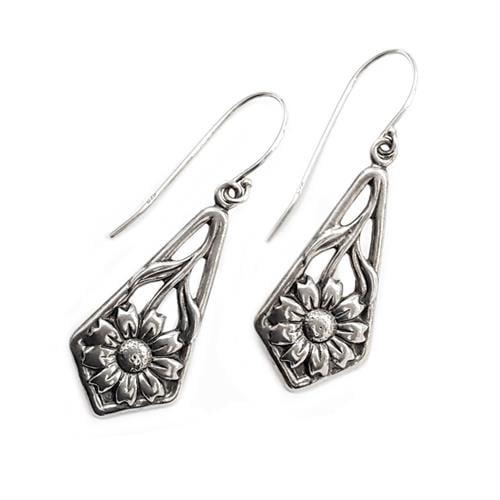עגילי כסף מעוצבים פרחים A5617 | תכשיטי כסף | עגילי כסף