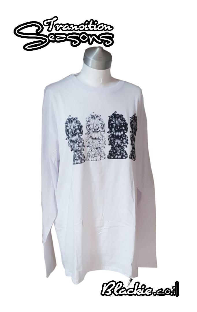 חולצה לתקופות מעבר הדפס גראפי נעול צבע לבן