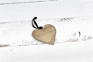 לב שטוח ממתכת - זהב (גודל S)