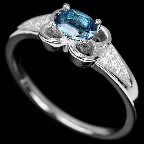 טבעת כסף משובצת טופז כחול וזרקונים RG5513 | תכשיטי כסף 925 | טבעות כסף