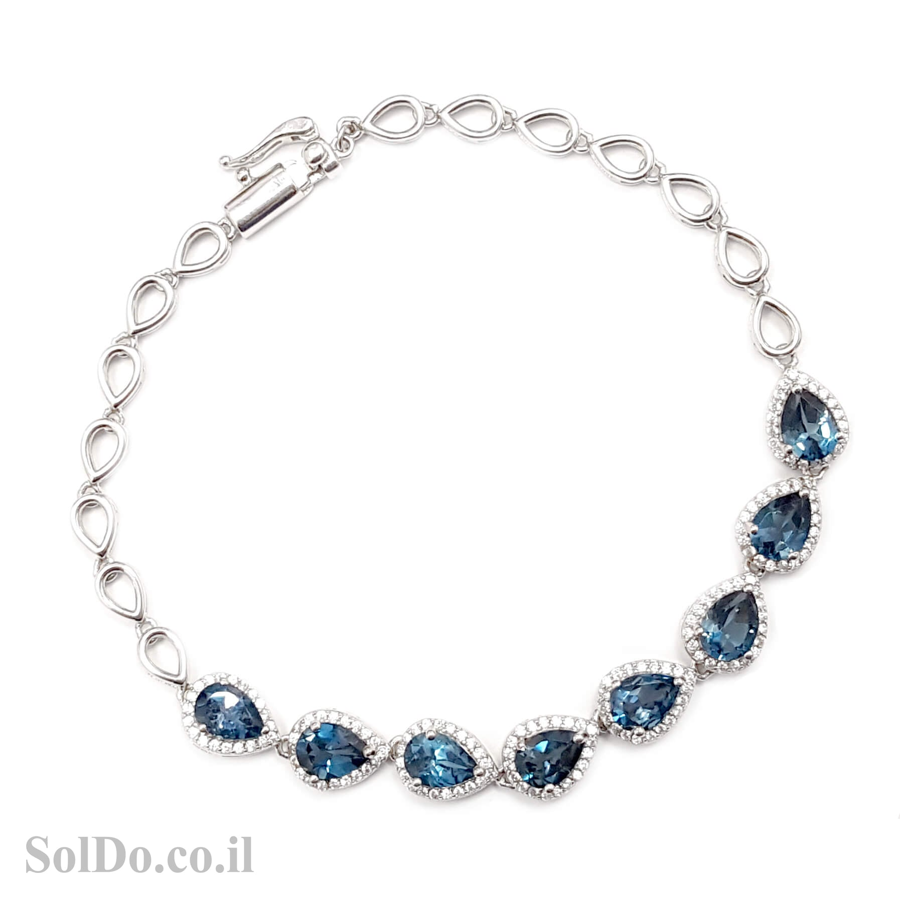 צמיד כסף משובץ אבני טופז כחולות  Z3055