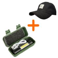 פנס USB נטען + כובע מצחיה I CAMP