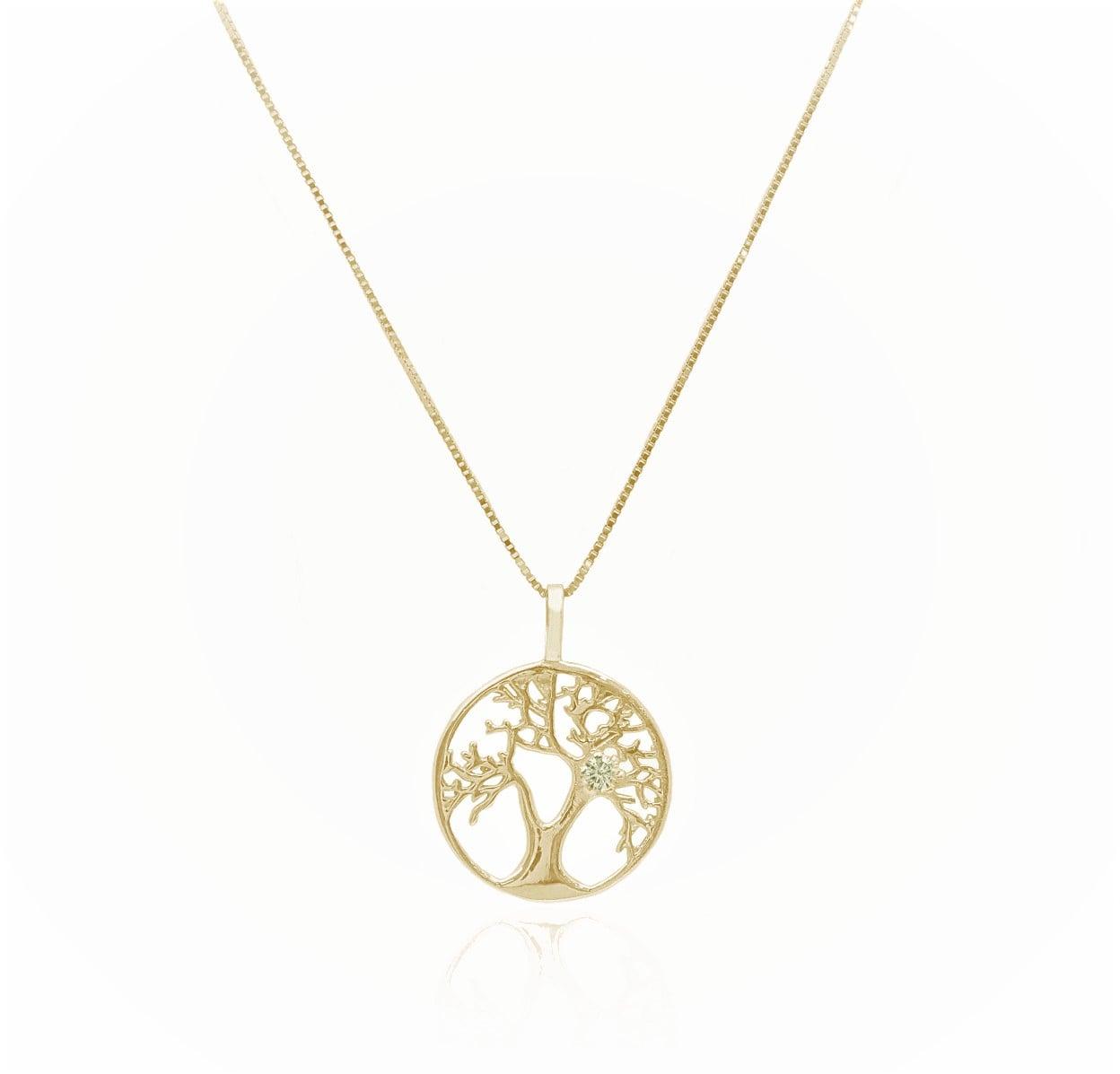 שרשרת ותליון זהב עץ החיים ויהלום