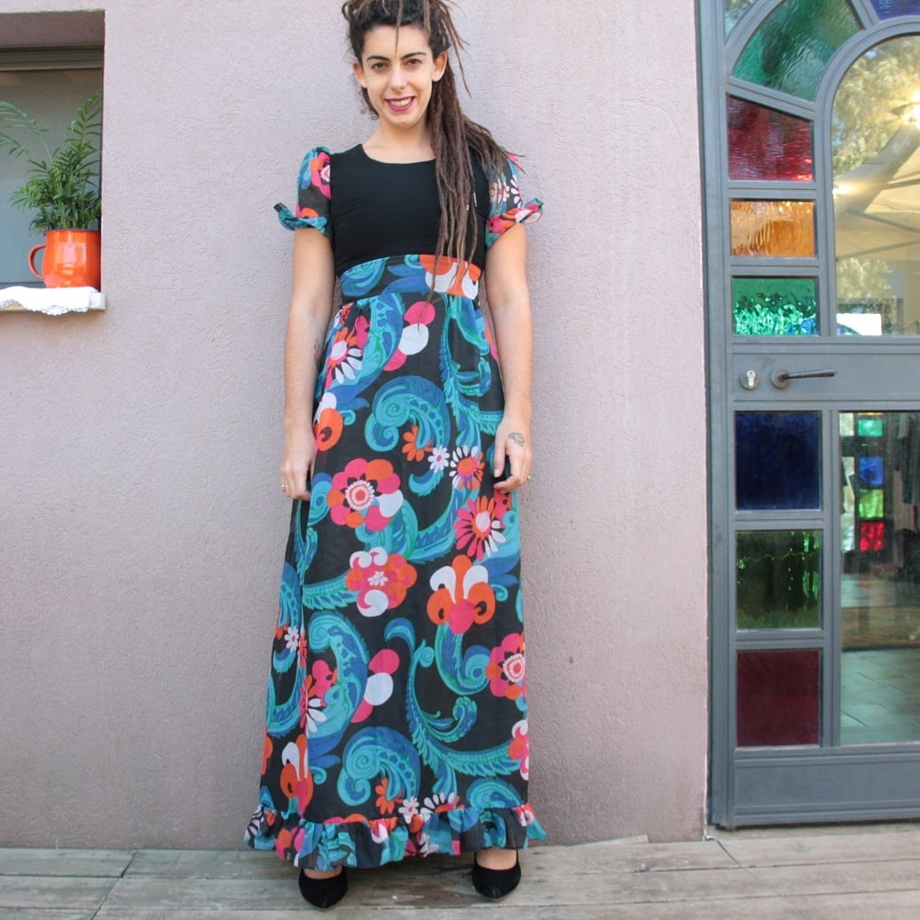 שמלת בובה מקסי פרחונית ומיוחדת מידה S/M