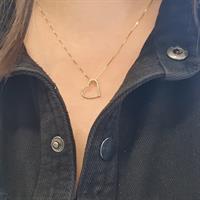 שרשרת זהב עם לב משובץ יהלומים 0.18 קראט
