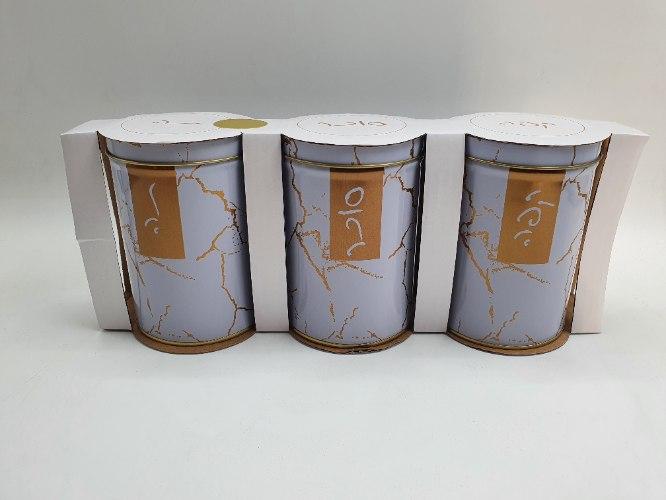 סט שלישיית כלים לתה קפה סוכר ממתכת שיש לבן