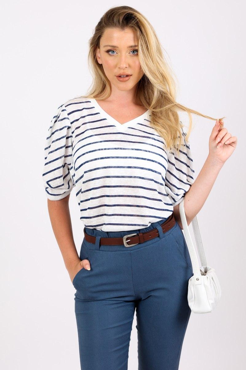 חולצת מישל פסים כחול לבן