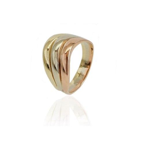 טבעת זהב וינטג' בשילוב (ורוד לבן וצהוב)