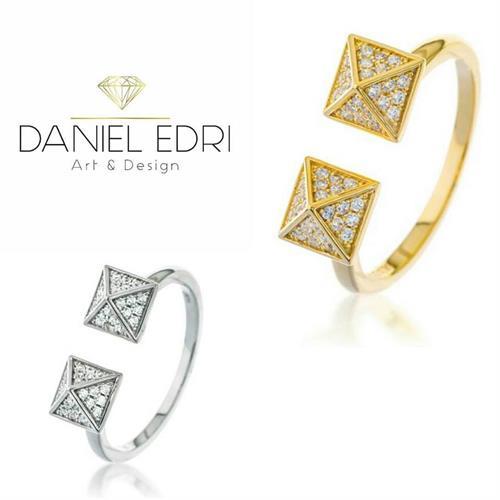 טבעת פרמידות - כסף