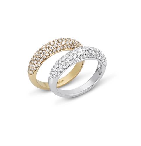 """טבעת זהב לבן 14 קרט """"חצי"""" משובצת יהלומים 0.72 קראט"""