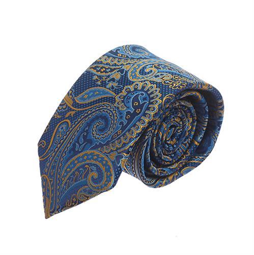 עניבה פייזלי כחול חרדל