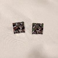 עגילים מרובעים מרוקעים - כסוף