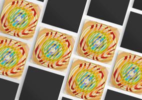 """מגנט אומנותי- מנדלת """"זרימה"""" - מנדלה מקורית בעבודת יד מודפסת על מגנט"""