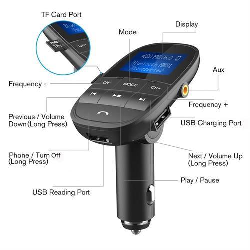 משדר fm לרכב מבית המותג-NULAXY-הכולל:חיבור בלוטוס+aux+דיבורית לרכב+הטענת הטלפון