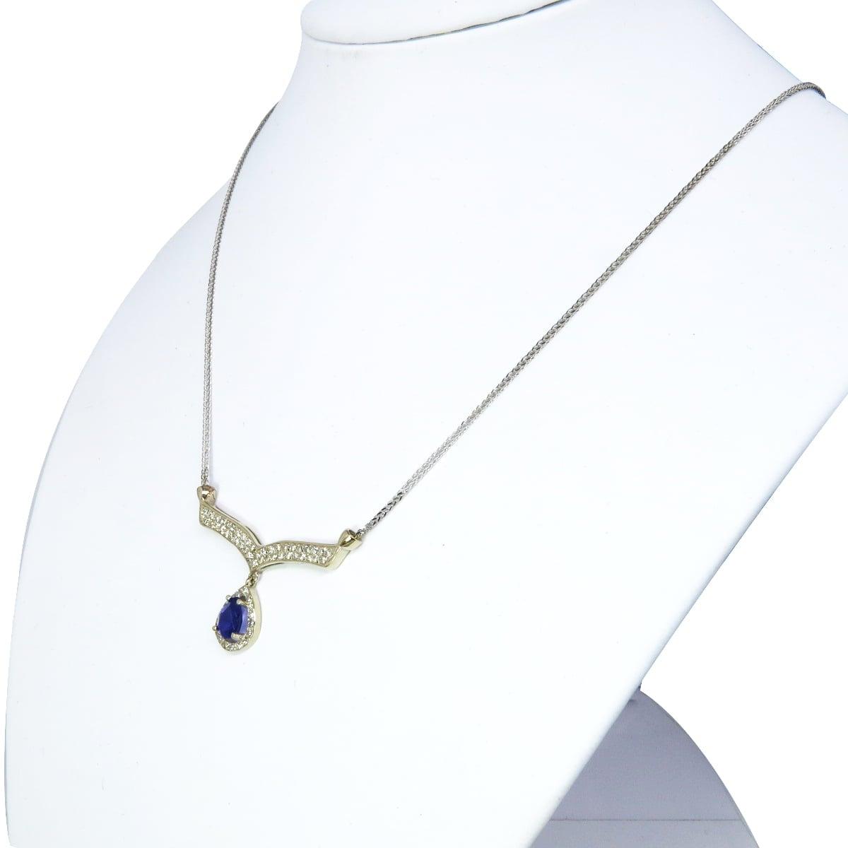 שרשרת זהב לבן 14 קרט משובץ אמטיסט ויהלומים 0.50 קראט