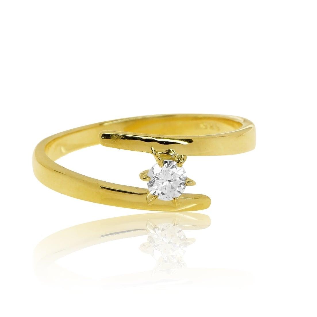 טבעת זהב 14 קרט משובצת יהלומים 0.25 קראט