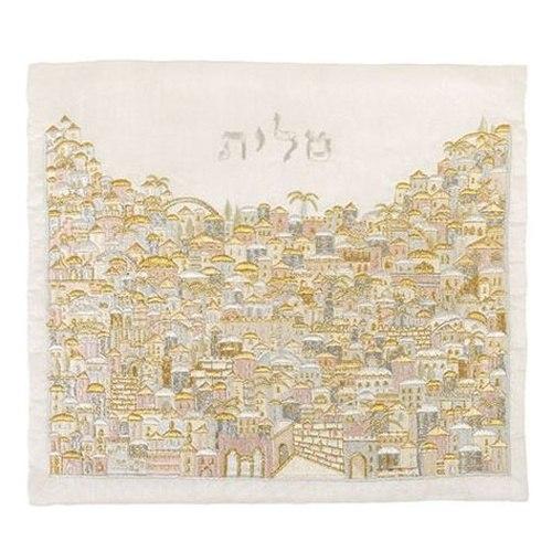 כיסוי לטלית רקמה מלאה דגם ירושלים צבעוני כסף וזהב