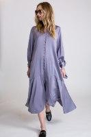 שמלת סאטן קשירה בשרוול  אפור