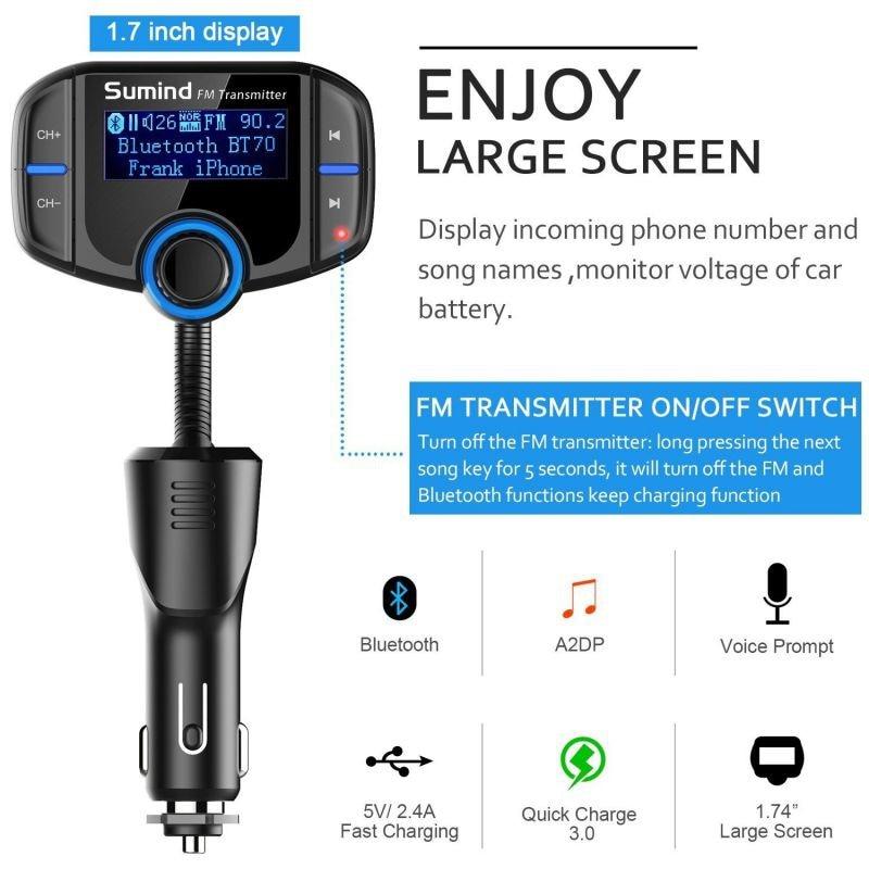 משדר fm איכותי לרכב עם דיבורית