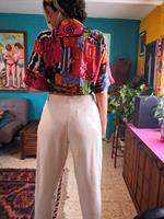 מכנס גבוה נעים בצבע שמנת מידה M