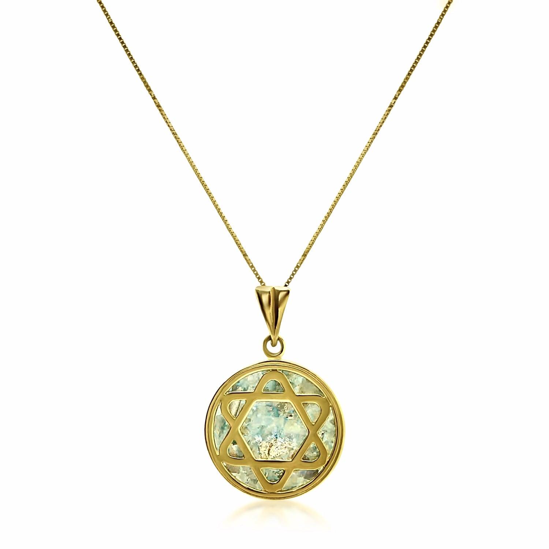 שרשרת זהב מגן דוד במסגרת וזכוכית רומית