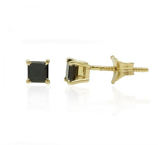 עגילי זהב עם יהלום שחור מרובע (חיתוך פרינסס)  0.40 קראט