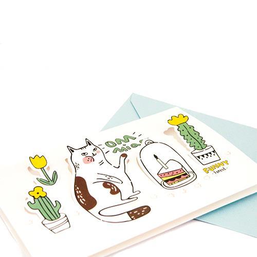 מארז כרטיסי ברכה חתול בתלת מימד