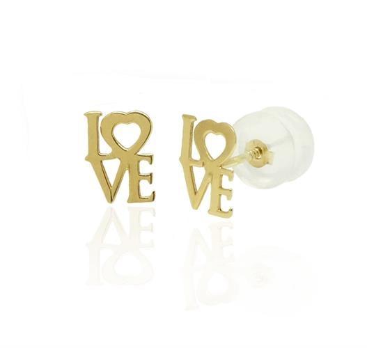 עגילי זהב לילדות קטנות LOVE