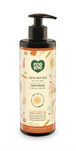 Ecolove  קרם לחות ועיצוב לשיער רגיל-יבש מתמציות אורגניות גזר דלעת ובטטה
