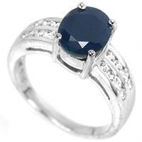 טבעת כסף משובצת אבן ספיר כחולה וזרקונים RG5699 | תכשיטי כסף 925 | טבעות כסף