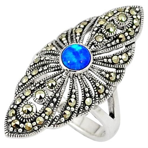 טבעת כסף משובצת Marcasite ואופאל כחול RG9083 | תכשיטי כסף 925 | טבעות כסף