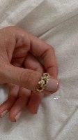 טבעת מונה זהב 14 קראט ויהלומים לבנים