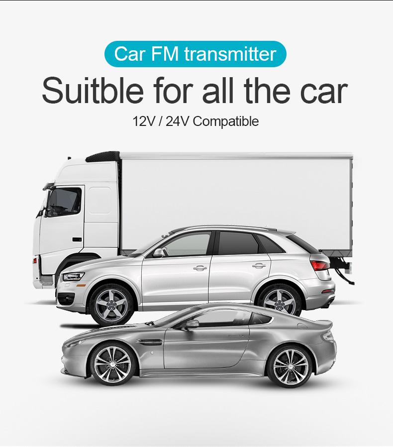 משדר fm מקצועי לרכב עם בלוטוס ועם דיבורית