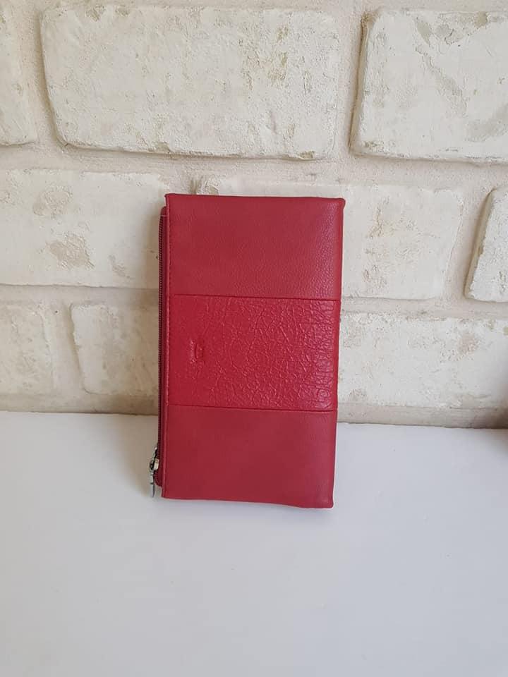 ארנק דמוי עור גדול אדום 4024