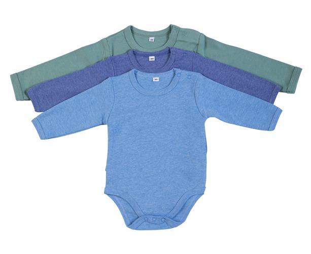 מארז 3 בגדי גוף 9100 ירוק מלאנג' - כחול מלאנג' - תכלת מלאנג' פלנל