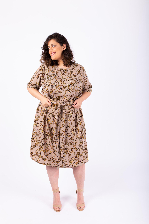 שמלת ליב ניוד מודפס