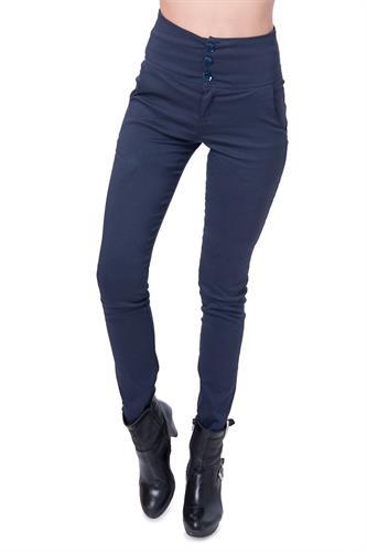 מכנס אלגנט עם חגורה רחבה ו3 כפתורים בצבע כחול