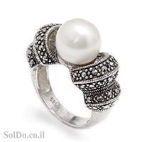 טבעת מכסף משובצת פנינה לבנה ומרקזטים RG5979 | תכשיטי כסף 925 | טבעות עם פנינה