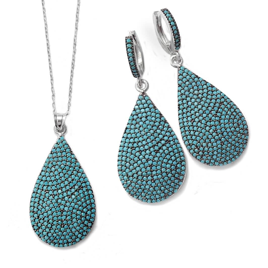 סט עגילים ותליון כסף משובצים אבני זרקון כחולות S1519   תכשיטי כסף 925   תכשיטים לאירועים