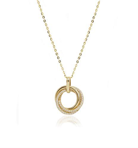 """שרשרת עיגולים לאישה עם זרקונים  שרשרת זהב """"מעגל החיים"""" 14 קרט"""