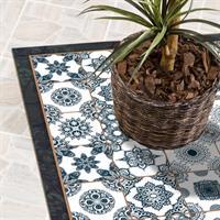שטיח פי וי סי למטבח אריחי יוון כחולים  שטיח למטבח  שטיח פי וי סי   שטיח PVC   שטיחי פי וי סי מעוצבים